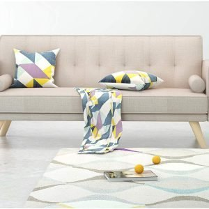 Sofa 3 Seater Padded Fabric Sofabed With Cushions Sofa bed