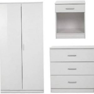 3 Piece Set 2 Door Wardrobe Bedside Table Desk Drawer Chest Bedroom