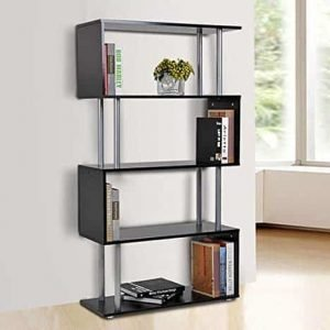 Wooden S Shape Bookcase Bookshelf Dividers Storage Display Unit Black