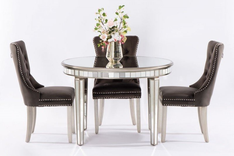 Antoinette Toughened Mirror Circular Dining Table Property London